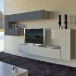 Mueble de salón de estilo moderno que combina el blanco y el negro