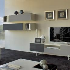 Mueble de salón con cubos y módulos altos