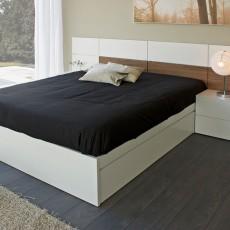 Mueble de diseño con cajones interiores y cabezal nogal canaleto y blanco