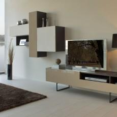 Mueble de diseño blanco, arena y roble