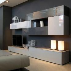 Mueble de diseño minimalista que combina grises