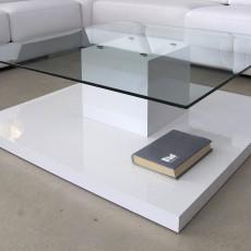 Mesa de centro con cristal y un cubo central