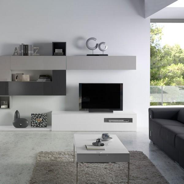 Muebles de diseño minimalista con puertas abatibles y cubos