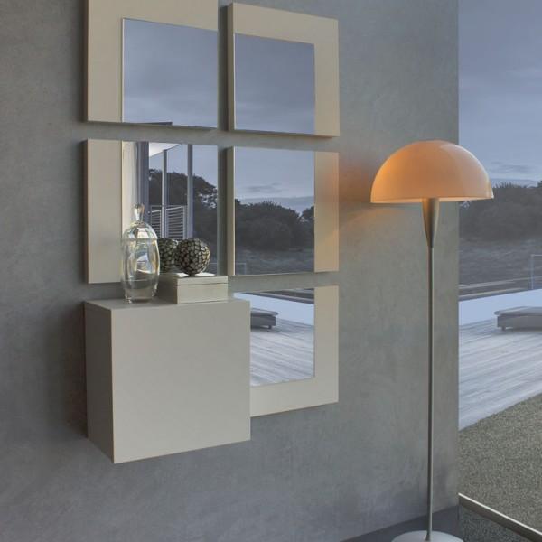 Recibidor de diseño con 5 espejos verticales