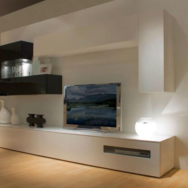 Mueble de diseño minimalista blanco y negro